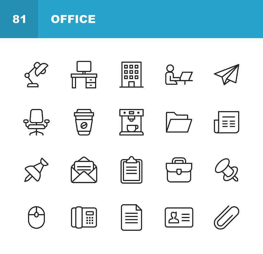 Office Icons. Editable Stroke. Pixel Perfect. For Mobile and Web. Contains such icons as Office Desk, Office, Chair, Coffee, Document, Computer Mouse, Clipboard, Light, Messaging, Communication, Email, Business Card. Drawing by Rambo182