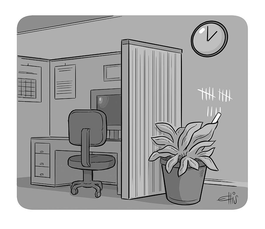 Office Plant Drawing by Ellis Rosen