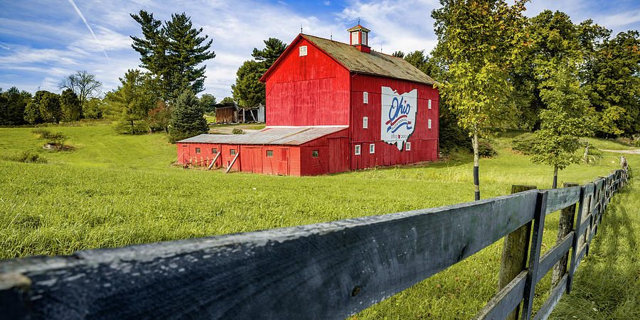 Ohio State Red Bicentennial Barn Panorama Photograph