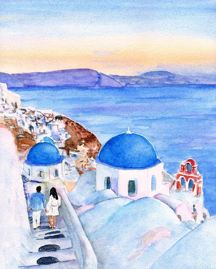 Oia Santorini Greece by Carlin Blahnik CarlinArtWatercolor