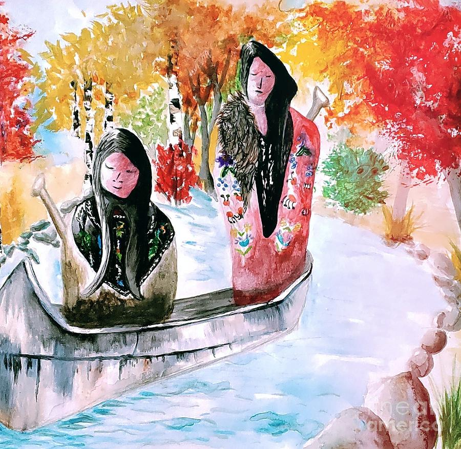 Watercolor Painting - Ojibwe Man and Woman in Birch Canoe  by Ayasha Loya