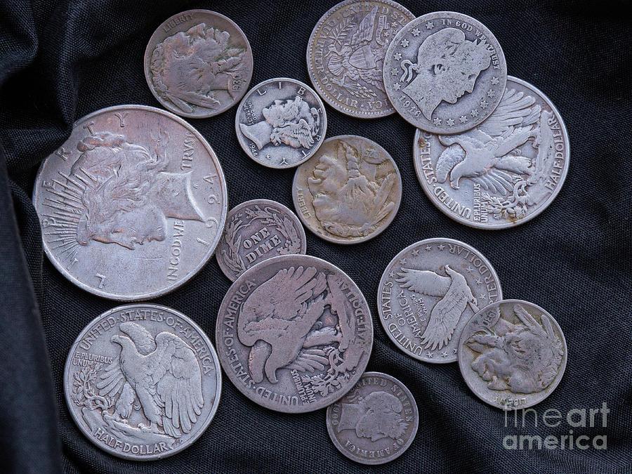 Old American Coins On Black Digital Art