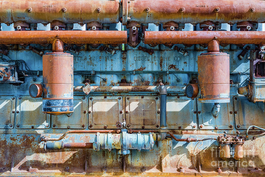 Old and rusty Atlas Imperial diesel engine at Independence Mine by Lyl Dil Creations