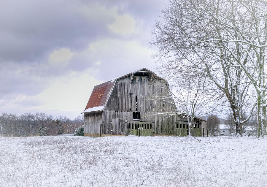 Old Barn In Snowy Field Photograph