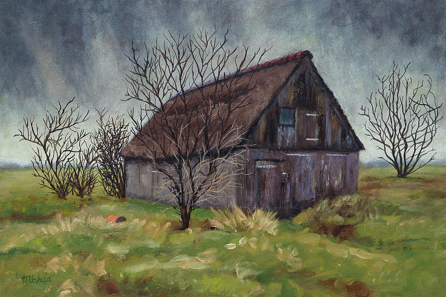 Barn Painting - Old Barn in the Netherlands by Maria Meester