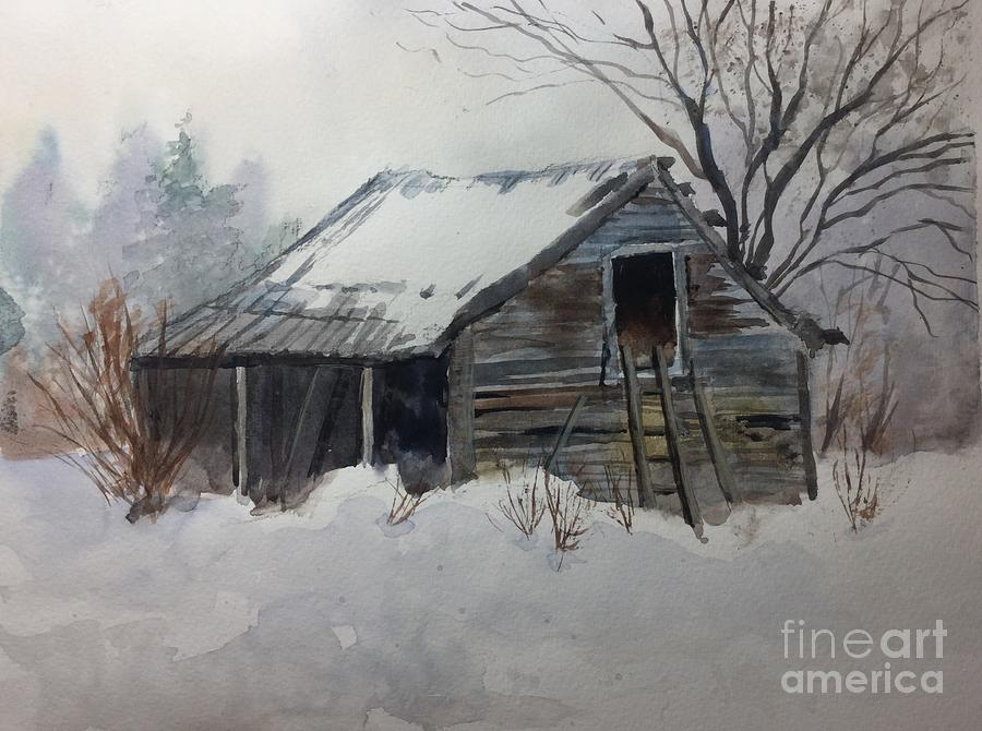 Snow Painting - Old Barn in Winter by Watercolor Meditations