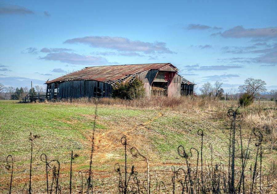 Old Barn With Caving Roof Photograph