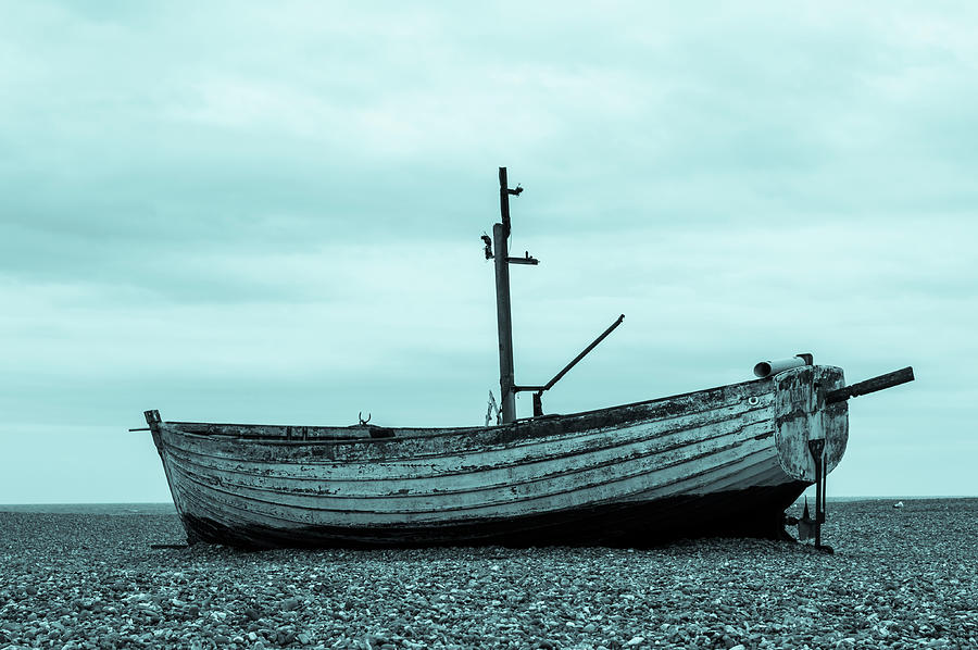 Aldeburgh Photograph - Old Boat in Cyan by Paul Cullen