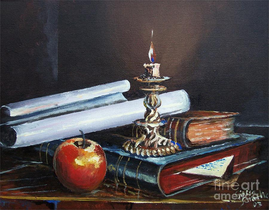 Still Life Painting - Old Books by Sinisa Saratlic