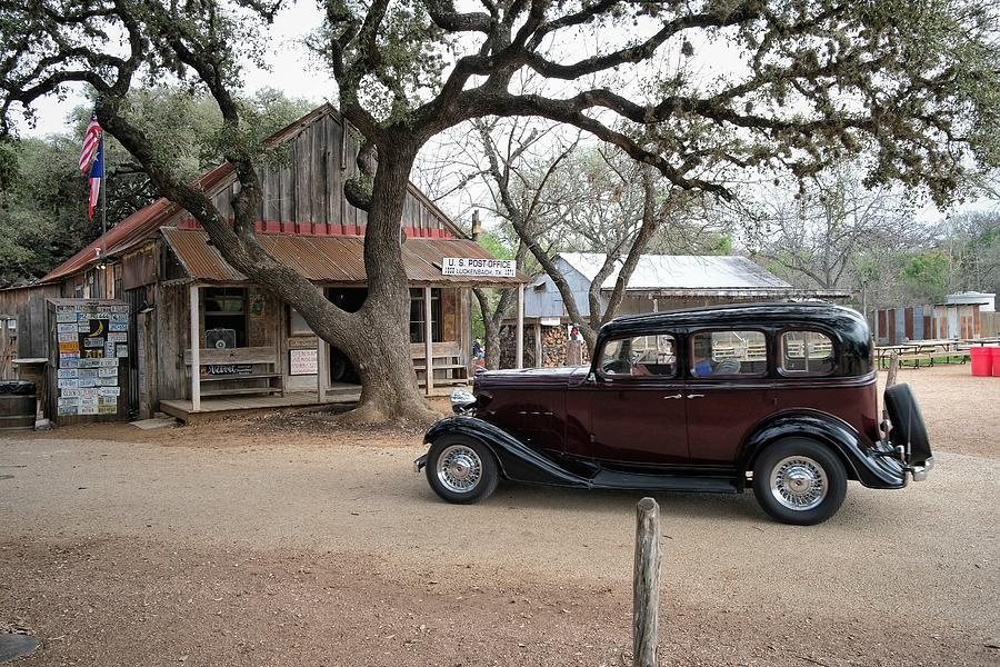 Old Car At Luckenbach Post Office Photograph