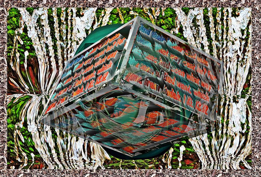 Old car grille box and little planet as art with text as a box by Karl Rose