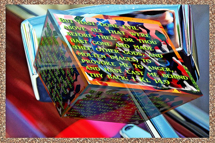 Old car mirror reflection with text as a box by Karl Rose