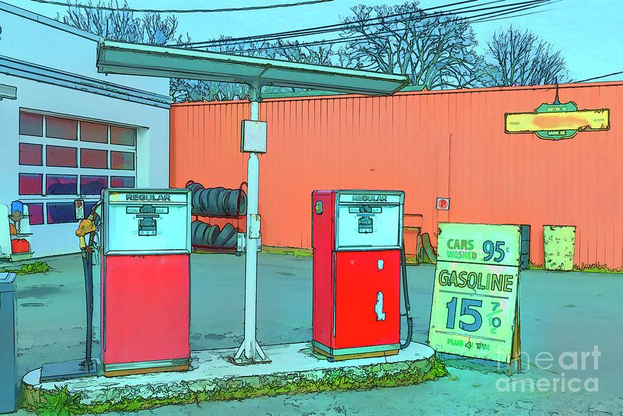 Old Gas Station Digital Art