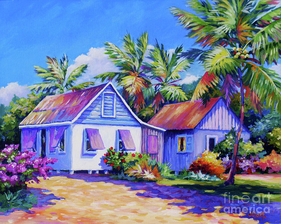 Poinciana Painting - Old Cayman Cottages by John Clark