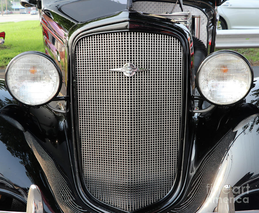 Old Chevrolet Grille And Headlights 8359 Photograph