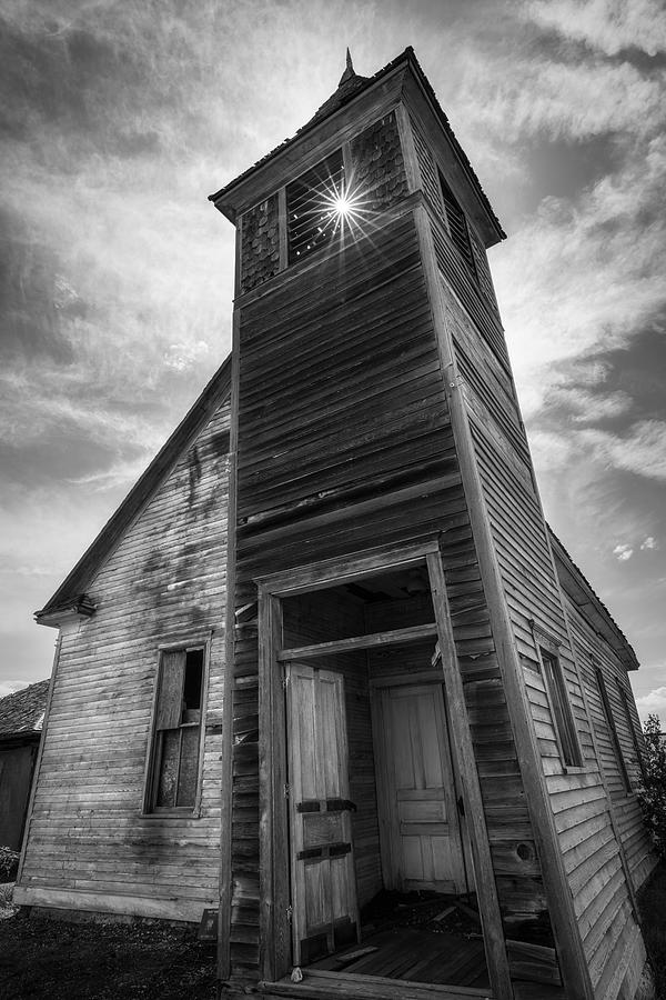 Old Church In Black And White Photograph