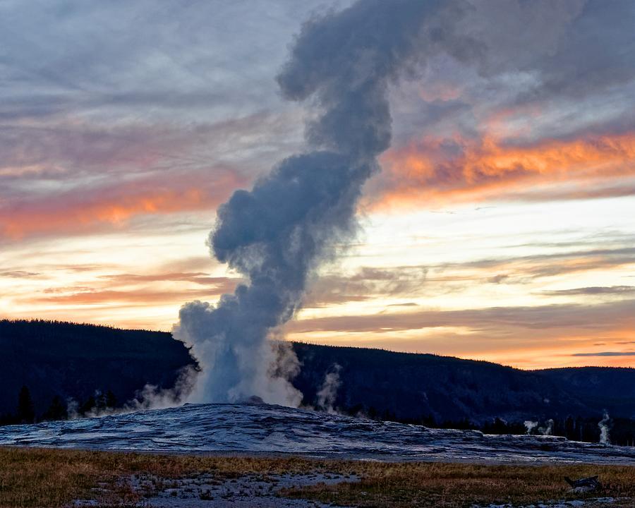 Old Faithful's Sunset - Yellowstone by KJ Swan