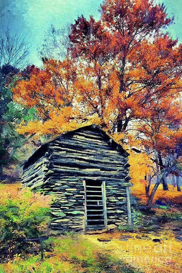 Old Farm Cabin in Autumn ap by Dan Carmichael