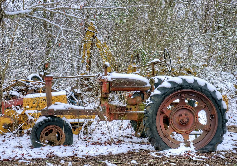 Old Gutted Tractor In Snow Photograph