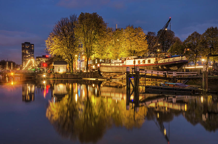 Old Harbour Shipyard in the Blue Hour by Frans Blok