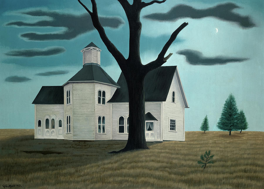 George Ault Painting - Old House, New Moon, 1943 by George Ault