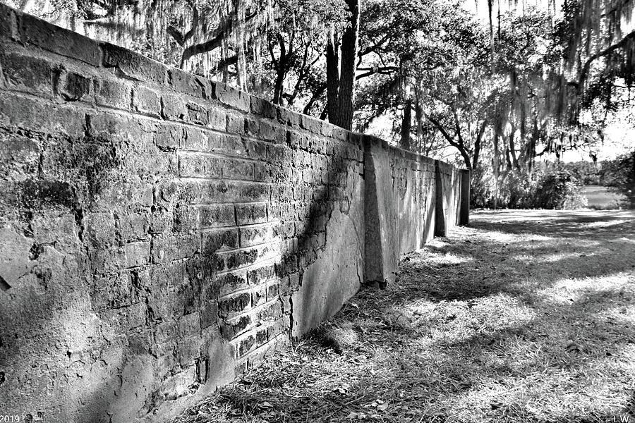 Old House Plantation Cemetery Wall Black And White by Lisa Wooten