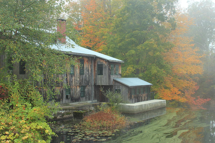 Old Mill And Autumn Fog Photograph