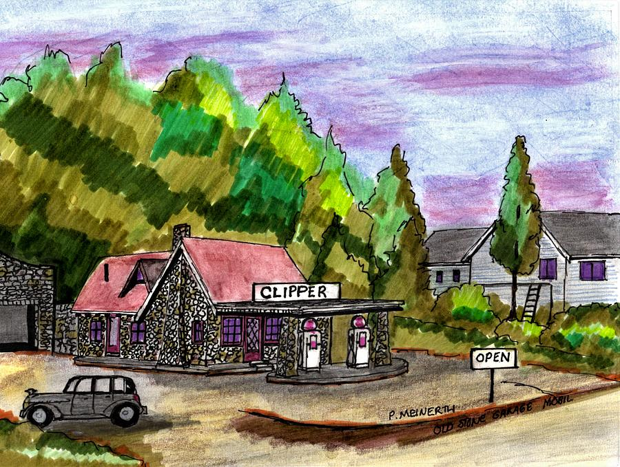 Old Mobil Rock Service Station Drawing