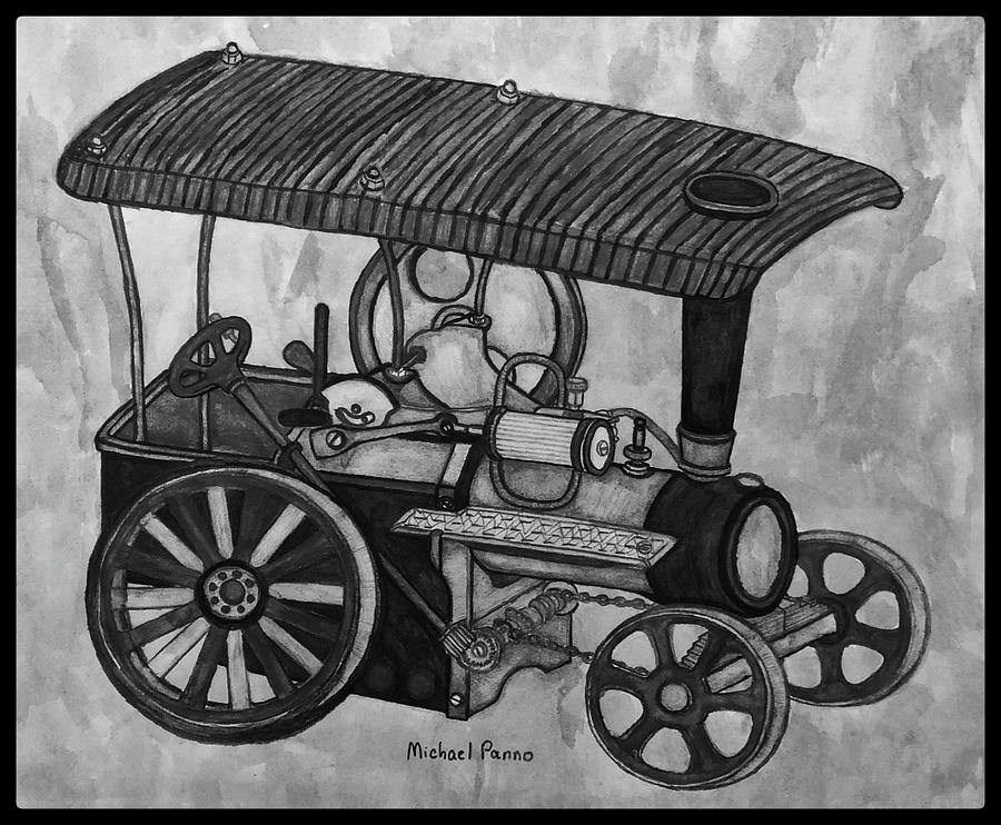 Old Model Steam Tractor W/ Boarder Drawing