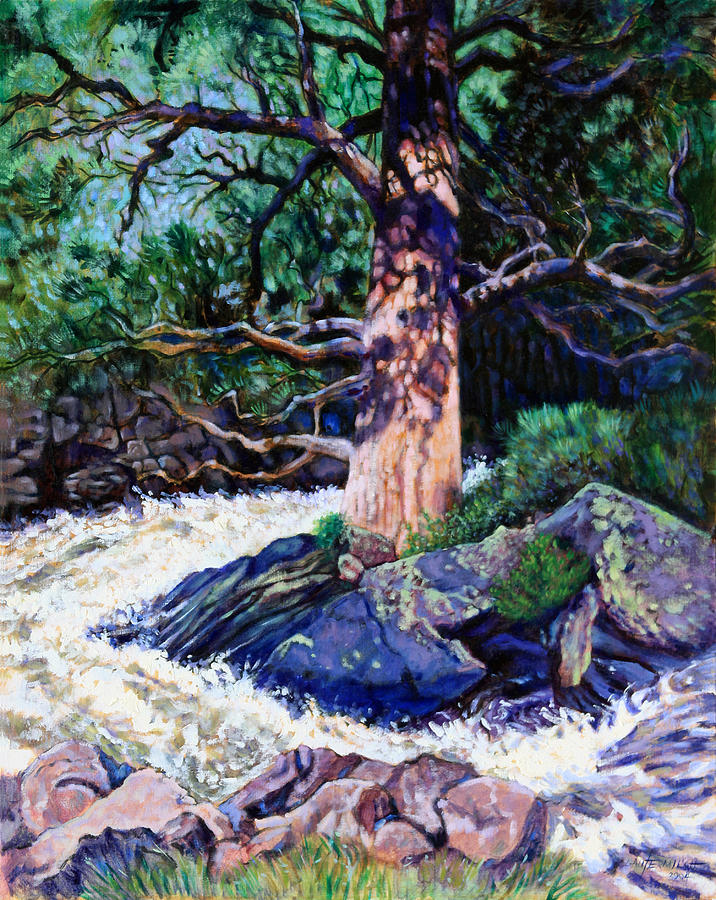 Old Pine Painting - Old Pine In Rushing Stream by John Lautermilch
