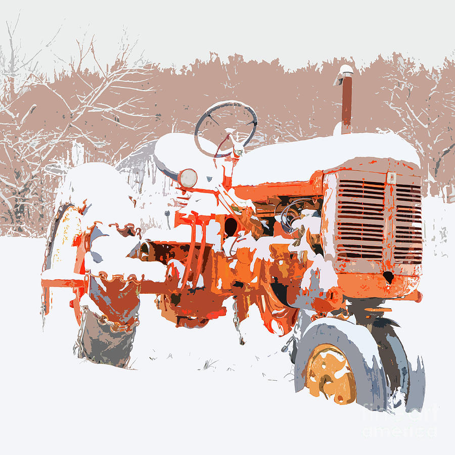 Old Red Tractor in the Snow Graphic by Edward Fielding