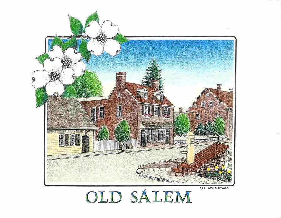 Old Salem Drawing - Old Salem, North Carolina by Lee Pantas