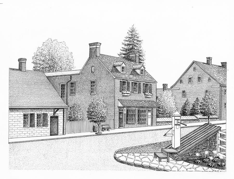 Old Salem Drawing - Old Salem Street Scene by Lee Pantas