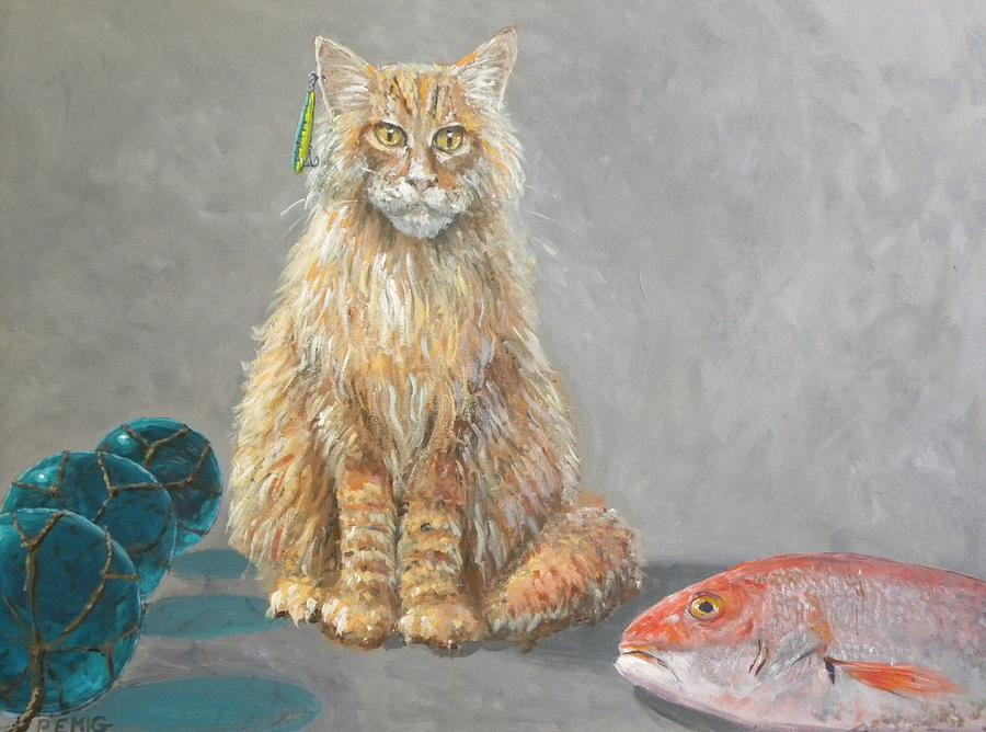 Cat Painting - Old Salt the fisher cat by Paul Emig
