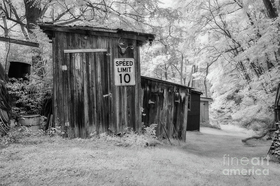 Old Shed Infrared Black And White Digital Art
