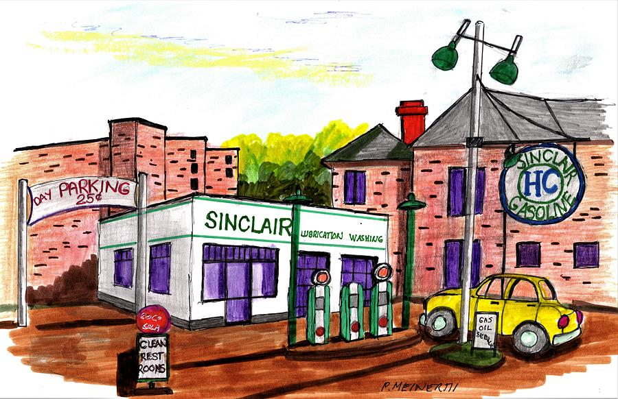 Old Sinclair Gas Station Drawing