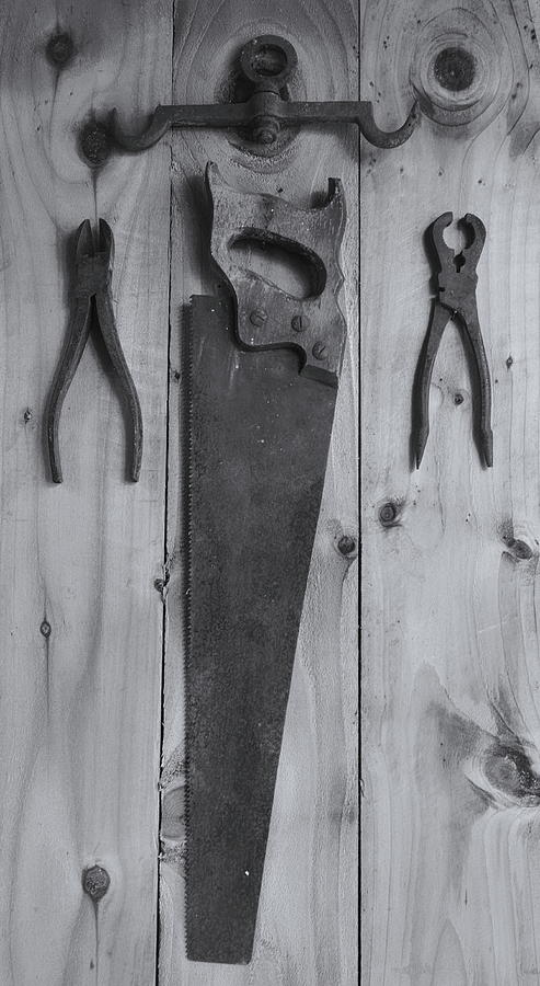 Old Tools Black And White Photograph