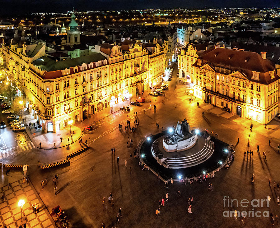 Old Town Square at Night 2 by Miles Whittingham