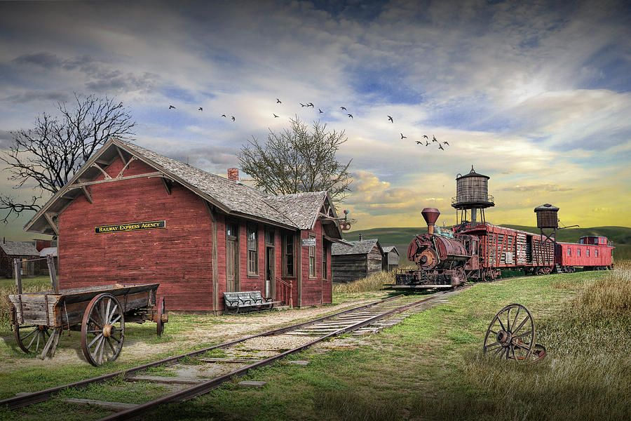 Old Train Station With Locamotive And Railroad Cars Photograph