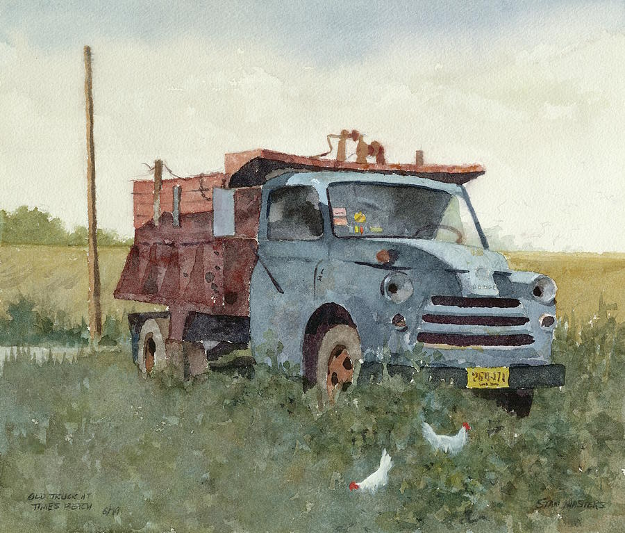 Old Truck at Times Beach Painting by Stan Masters