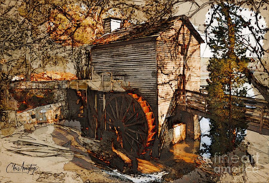 Old Watermill Digital Art