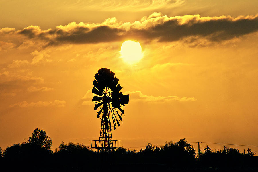 Old Windmill At Sunset Photograph by Bernd Schunack