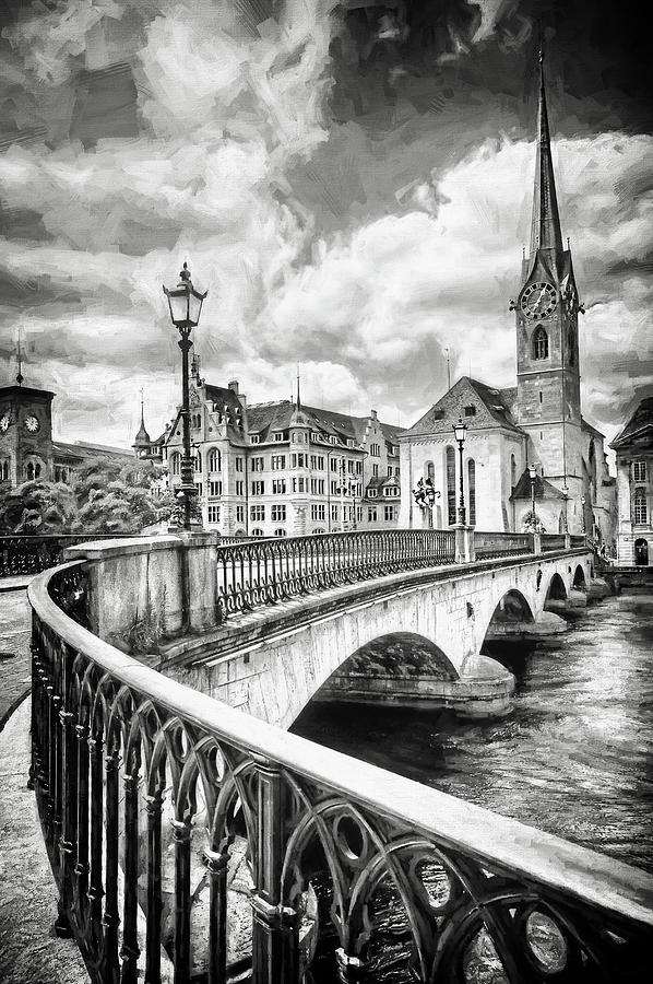 Old Zurich Black And White Photograph