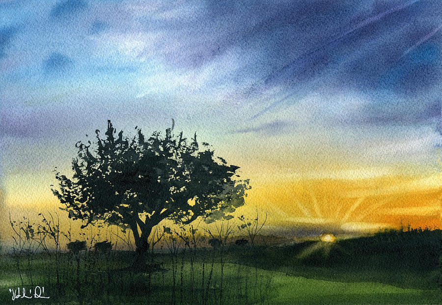Olive Tree in Sunset At Campo Maior Alentejo Portugal by Dora Hathazi Mendes