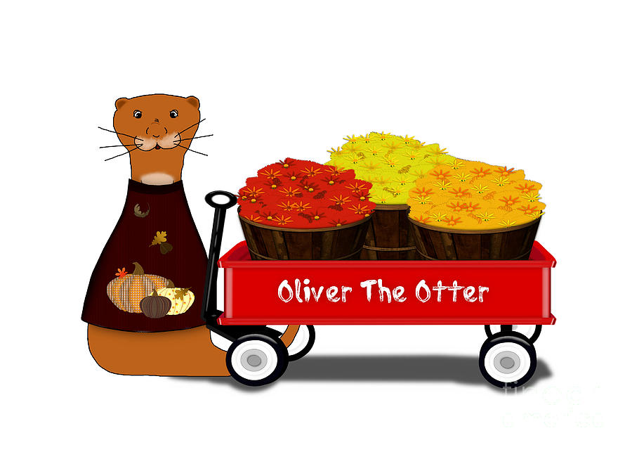 Halloween Digital Art - Oliver The Otter Gets Ready For Autumn by Colleen Cornelius