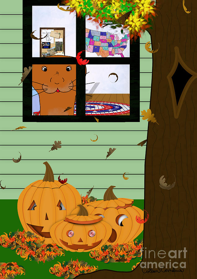 Halloween Photograph - Oliver The Otter Looking at Jack-o-Lanterns Out his Bedroom Window by Colleen Cornelius