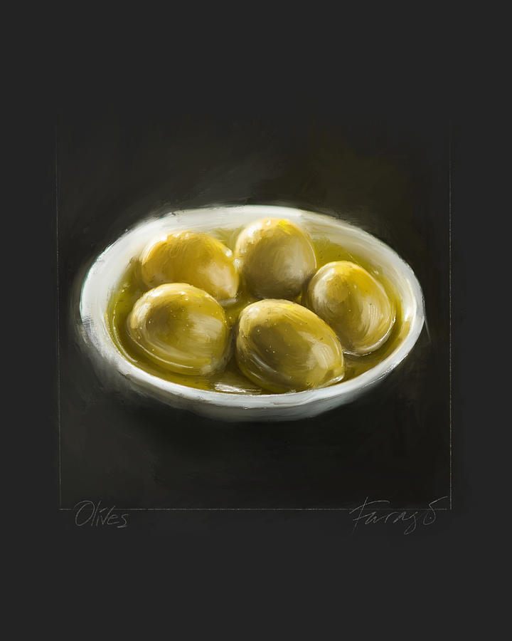 Olives Painting by Peter Farago