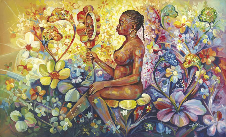Afrocentric Painting - Where Beauty Lies by Olukus
