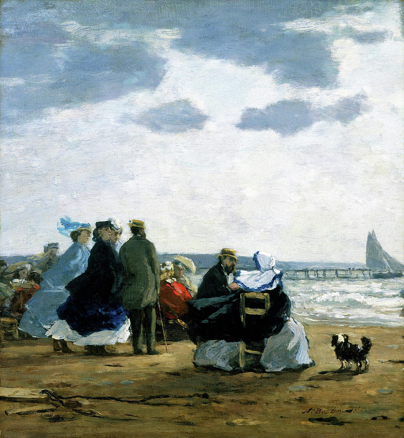 On The Beach Painting - On The Beach, Dieppe - Digital Remastered Edition by Eugene Louis Boudin
