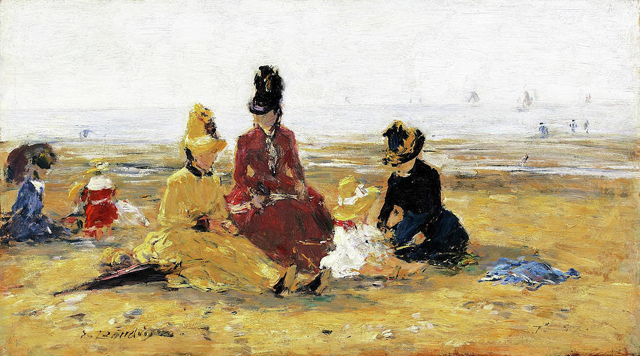On The Beach Painting - On The Beach, Trouville - Digital Remastered Edition by Eugene Louis Boudin